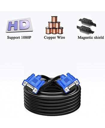 CableVantage HD15 15Pin VGA Male to Male VGA Cable for TV Computer Monitor Blue for TV Computer Monitor Extension Cable Gold Plated DB15 VGA Male to Male Monitor Cable Blue 50 Feet