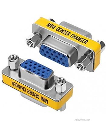 ENUODA VGA Coupler 2 Pack VGA SVGA Connector 15 Pin Female to Female Mini Gender Changer Adapter