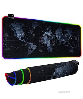 RGB Gaming Mouse Pad Ultra Bright LED Light&Soft Large Extended Mousepad with 12 Lighting Rainbow Modes Water Resistance Non-Slip Rubber Base Keyboard Pad Mat 31.5 X12 inch World Map