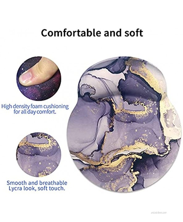 Sosolong Purple Marble Mouse pad for Office and Laptop Keyboard Wrist Rest Pad and Mouse Wrist Rest pad Ergonomic Support Memory Foam Mouse Pad with Marble Coaster marbling