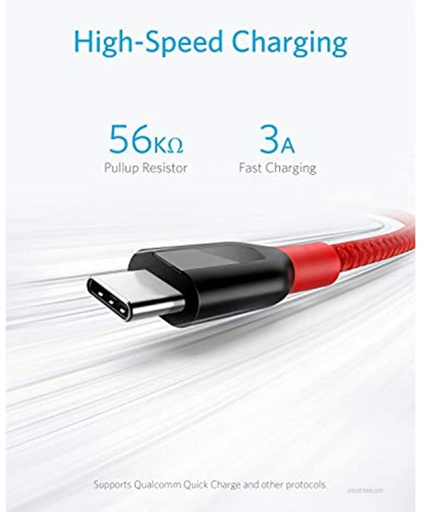 USB C Cable Anker Powerline+ USB-C to USB-A [10ft] Double-Braided Nylon Fast Charging Cable for Samsung Galaxy S10 S9 S9+ S8 S8+ Note 8 LG V20 G5 G6 and More Red