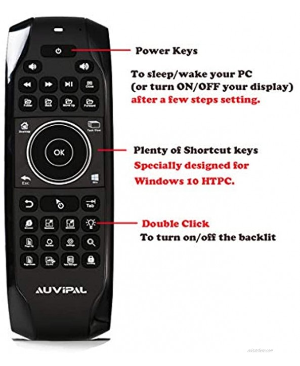 AuviPal G10 Backlit 2.4GHz Wireless Air Mouse Remote with Shortcut Keys QWERTY Keyboard and Build-in Rechargeable Battery for Windows 10 PC Laptop Tablet Win10 Mini PC Stick HTPC