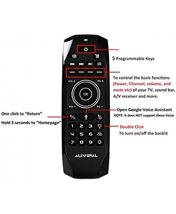 AuviPal G9 Pro Backlit 2.4GHz Wireless Air Mouse Remote with Google Voice Assistant QWERTY Keyboard 5 Programmable Keys and Build-in Rechargeable Battery for Android TV Box