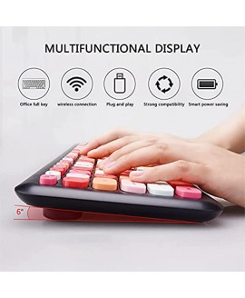 Colorful Computer Wireless Keyboard and Mouse Combo 2.4GHz Keyboard with Multi Color Retro Typewriter Round Keys Design for Laptop Tablet