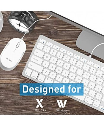 Macally USB Wired Keyboard and Mouse Combo for Mac and PC Save Space and Enhance Workflow Compact Keyboard with 78 Slim Keys and Quiet Click Mouse Sleek USB Keyboard and Mouse Wired