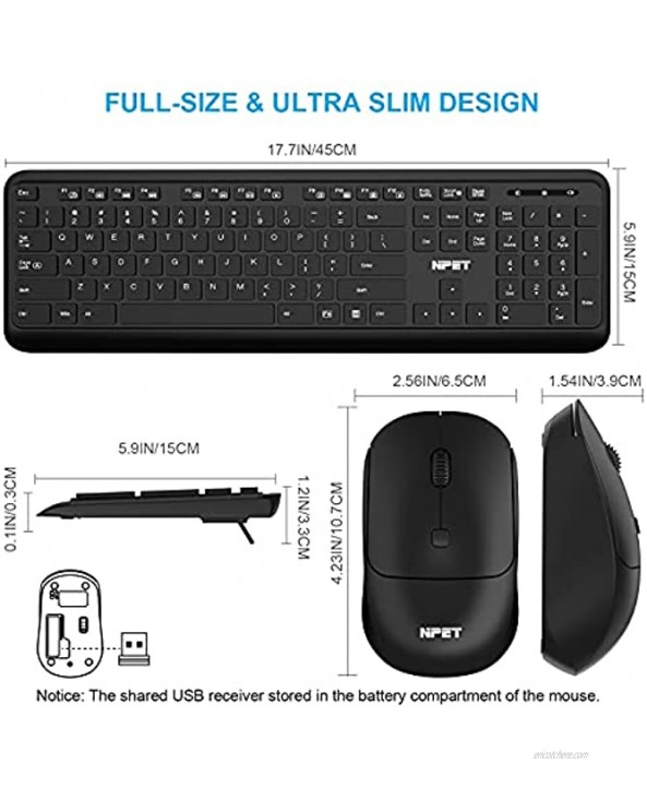 NPET KM20 Wireless Keyboard and Mouse Combo Wireless Mouse and Full-Sized 2.4GHz Computer Keyboard with Numeric Keypad Set Ultra-Thin Sleek Design USB Nano Receiver in Mouse for Windows PC Laptop