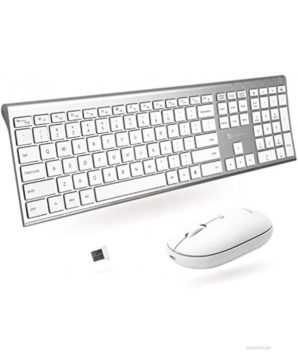 Wireless Keyboard and Mouse Combo X9 Performance Rechargeable Wireless Mouse and Keyboard Combo Slim 2.4G Wireless Keyboard Mouse Combo for Laptop and Desktop with Aluminum Finish and Quiet Click