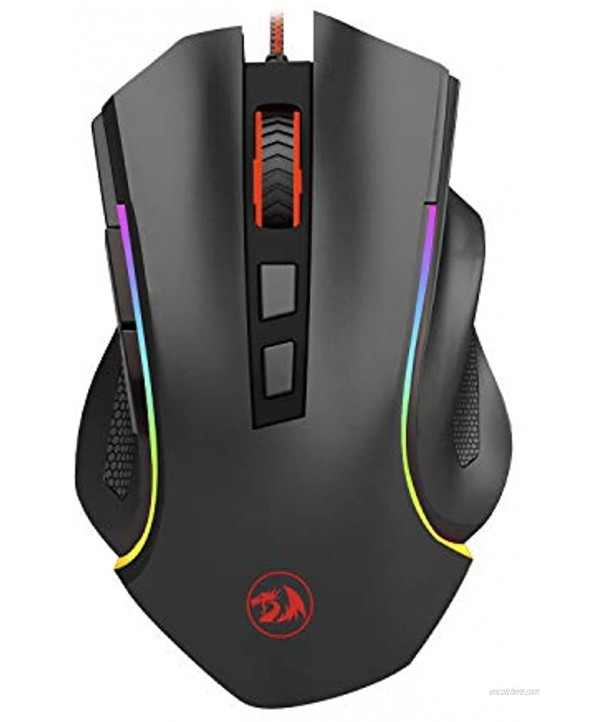 Redragon Griffin M607 Wired USB Gaming Mouse with 7 Programmable Buttons 7200 DPI RGB Lighting for Windows Mac PC