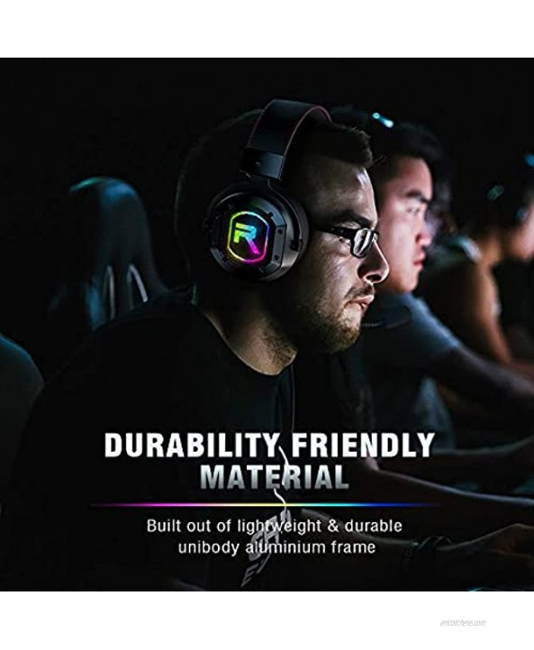 Gizori Gaming Headset PS4 Headset with Noise Canceling Mic & RGB Light Headset with Soft Memory Earmuffs PS5 Headset with 7.1 Surround Sound for PC Mac Sega Genesis Gamecube