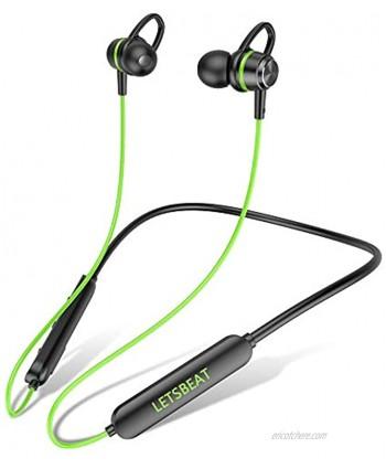 LetsBeat BEATMASTER T1 Bluetooth Headphones Sports V5.0 Wireless Sport Earphones HiFi Bass Stereo IPX7 Waterproof,cVc8.0 Noise Cancelling Headset for Workout Running Gym 18H Playtime Green
