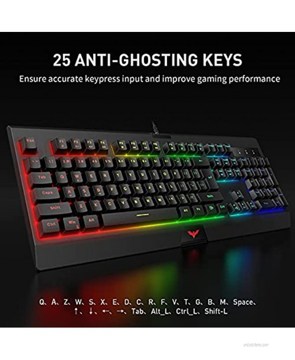 Havit RGB Wired Gaming Keyboard and Mouse Combo LED Backlit 104 Keys Ergonomic Gaming Keyboard with 4800 DPI & Programmable Gaming Mouse for Windows PC Computer Desktop Gamer