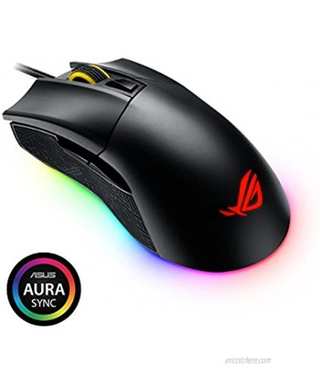 ASUS ROG Gladius II Origin Wired USB Optical Ergonomic FPS Gaming Mouse featuring Aura Sync RGB 12000 DPI Optical 50G Acceleration 250 IPS sensors and swappable Omron switches,Black