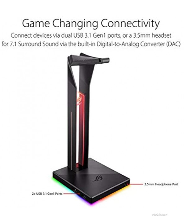 ASUS ROG Throne Qi Gaming Headset Stand Wireless Charging | 2 USB Ports & Aux Input | Arc Design for Stable & Secure Storage | Built-In DAC & Amplifier for Immersive Audio | Aura Sync RGB Lighting