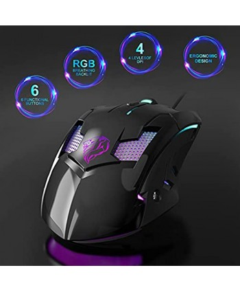 Wired Mouse Computer Mouse with RGB Backlit 4 Adjustable DPI Up to 7200,USB Corded Mouse 6 Programmable Buttons,4 Colors LED Lights Ergonomic Optical Mice for PC Laptop,Windows Vista LinuxBlack