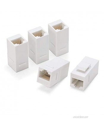 Rapink RJ45 Coupler Inline Adapter Keystone Female to Female Network Connector 5 Pack for Ethernet Cat6 Cat5e Cat5 Cable Extender with Gold Plated White
