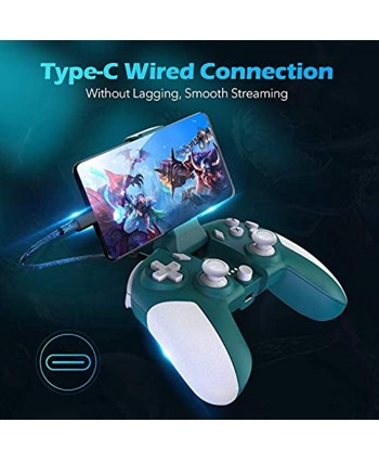 Type C Wired Mobile Game Controller for Android Phone Plug and Play Cloud Gaming Gamepad no Lagging Built-in 6 Gyro sensors Asymmetric Motor