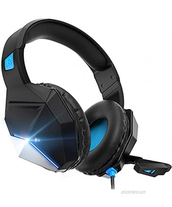 Gaming Headset Gaming Headphones with Microphone,for PS4,PS5 PC Xbox One,Switch -Headset with Microphone,Noise Cancelling,LED,Soft Earmuffs,Surround Sound Kids Headphones Blue Blue