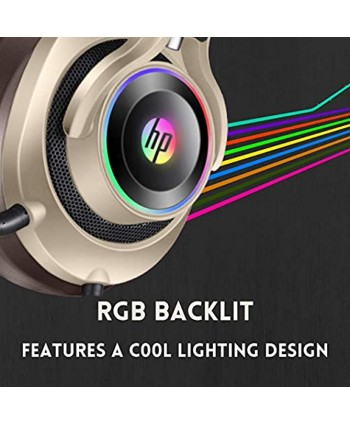 HP USB PC Gaming Headset with Microphone. 7.1 Surround Sound RGB LED Lighting Noise Isolating Over Ear Game Headphones with Detachable Mic for PC Mac PS4 Laptop Gold