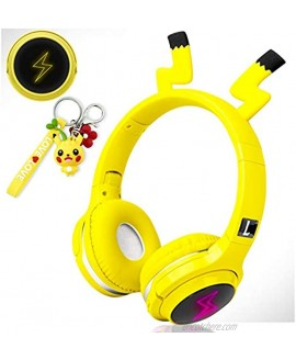 Wireless Headphones for Boys,Girls,Women,Kids,Teens Yellow Bluetooth Headset for Smartphones iPhone iPad Laptop PC TV Children Over Ear Gaming Headset with Mic&LED Light&Foldable Pikachu Yellow