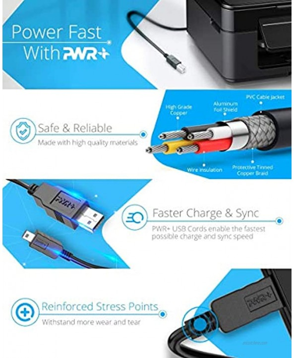 12Ft Extra Long USB-Printer-Cable 2.0 for HP OfficeJet Laserjet Envy; Canon Pixma; Epson Workforce Stylus Expression Home; Brother; Silhouette Cameo; Dell Scanner Fax Cord 3.6 m