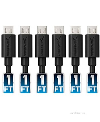 Sabrent [6-Pack] 22AWG Premium 1ft Micro USB Cables High Speed USB 2.0 A Male to Micro B Sync and Charge Cables [Black] CB-UM61