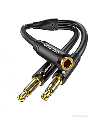 VENTION Headphone Splitter 3.5mm Female to 2 Dual 3.5mm Male Aux Cable Headset Mic Y Splitter Stereo Audio Adapter for PC,Laptop,Tablets 1FT