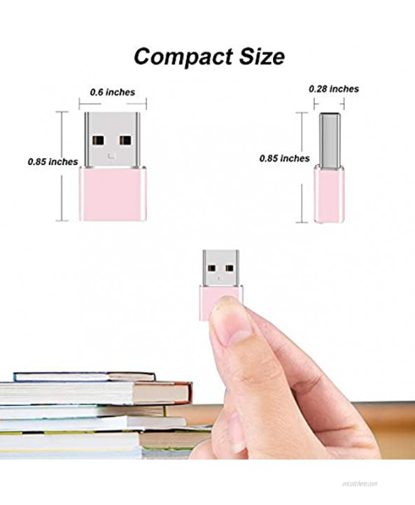 TACOMEGE USB C Adapter USB C Female to USB A Male Cable OTG Adapter for iPhone 12 Charger & Cable & Other Device Pink USB 2.0