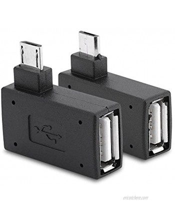 Zerone 2Pcs 90 Degree Left & Right Angled Micro USB 2.0 OTG Host Adapter Female to Male Micro OTG Adapter with USB Electricity Supply Port