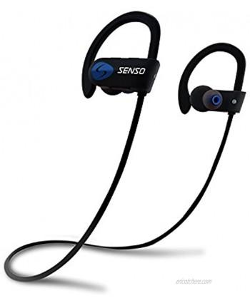 SENSO Bluetooth Headphones Best Wireless Sports Earphones w Mic IPX7 Waterproof HD Stereo Sweatproof Earbuds for Gym Running Workout 8 Hour Battery Noise Cancelling Headsets Black Blue
