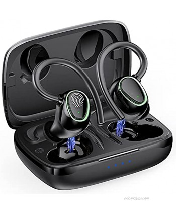 Wireless Earbuds Bluetooth 5.1 Headphones with CVC 8.0 Noise Cancelling Deep Stereo Bass Built in Mic and 50H Playtime Sports Earhooks Running Earphones with IPX7 Waterproof for Gym Workout.