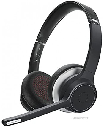 Wireless PC Headset Wireless Headphones with Noise Canceling Microphone for Cellphone Tablet Headset for Call Center Skype Zoom Home Office 22 Hours Talk Time