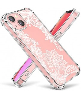 Cutebe Cute Clear Crystal Case for iPhone 13 6.1 inch 2021 Released Shockproof Series Hard PC+ TPU Bumper Yellow-Resistant Protective Cover with Floral Designs for Women Girls White