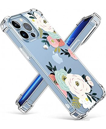 GVIEWIN Case Compatible with iPhone 13 Pro 6.1 Inch 2021 Clear Floral TPU Bumper Soft Cover Shockproof Protective Women Girls Slim Fit Flower Phone Case Abundant Blossom White