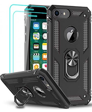LeYi Compatible for iPhone 8 Case iPhone 7 Case iPhone 6s  6 Case with Tempered Glass Screen Protector [2 Pack] Military-Grade Protective Phone Case with Kickstand Ring for iPhone 6 6s 7 8 Black