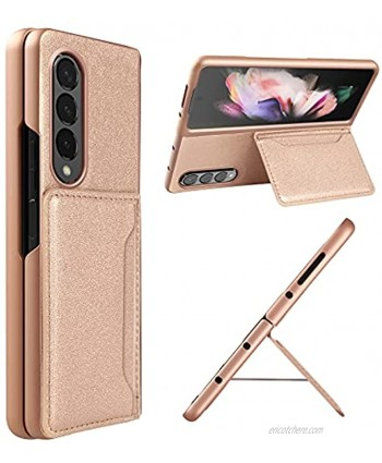 10 Cent Samsung Galaxy Z Fold 3 case with Credit Card Kickstand Support One Credit Card Storage with Fashionable Glitter PU Leather-Gold Glitter Leather- Minor Glitter Sparkle Effect