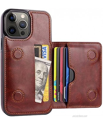 """Casnaitt for iPhone 13 Pro Max Wallet Case with Card Holder Faux Leather Kickstand Card Slots Case Handmade RFID Blocking Magnetic Shockproof Protective Slim Back Flip Phone Case 6.7"""" Brown"""