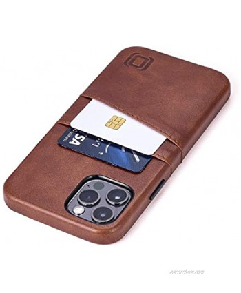 """Dockem Wallet Case for iPhone 12 & iPhone 12 Pro: Built-in Metal Plate for Magnetic Mounting & 2 Credit Card Holders: 6.1"""" Exec M2 Smooth Synthetic Leather Brown"""