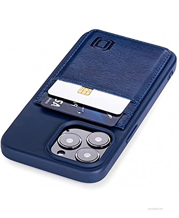 Dockem Wallet Case for iPhone 13 Pro with Liquid Silicone Shell Built-in Metal Plate for Magnetic Mounting & 2 Credit Card Holder Pockets: Exec M2T Premium Synthetic Leather 6.1 Pro Navy