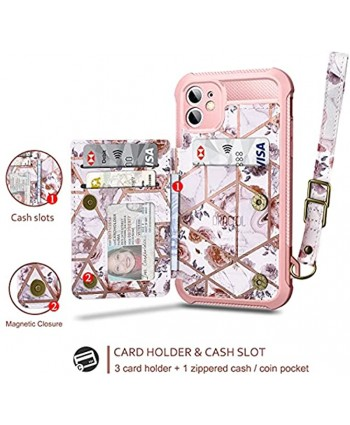 Dracool Compatible with iPhone XR iPhone 11 Wallet Case Flip Cover with Credit Card Holder Slots Screen Protector for Women Girls Leather Magnetic Strap Silicone Marble Floral Flower Rose Gold