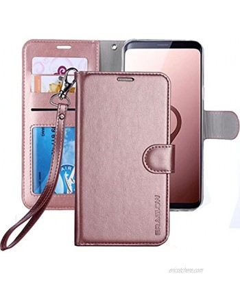 Galaxy S9 Wallet Case Galaxy S9 Case ERAGLOW Premium PU Leather Wallet Flip Protective Case Cover with Card Slots and Kickstand for Samsung Galaxy S9 Rose Gold