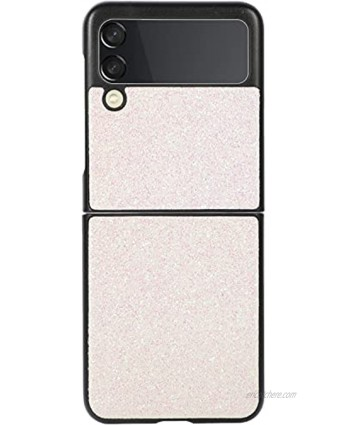 Glitter Phone Case for Galaxy Z Flip 3 Sparkling Leather Back Cover Protector Case PC Hard Shockproof Protection Cover Shell Compatible with Samsung Galaxy Z Flip 3 5G White