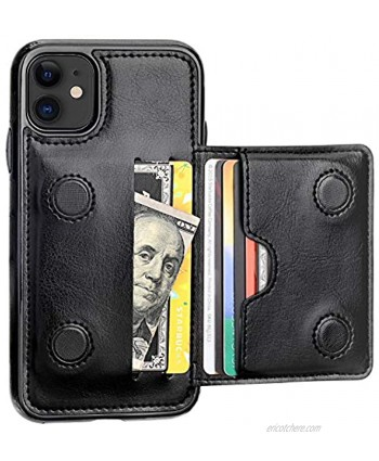 KIHUWEY iPhone 11 Wallet Case Credit Card Holder Premium Leather Kickstand Durable Shockproof Protective Cover iPhone 11 6.1 InchBlack