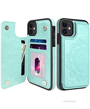 MMHUO for iPhone 11 Case Elegant Flower Magnetic Flip Leather Wallet Case for iPhone 11 with Card Holder for Women Girls Durable Shockproof Protective Phone Cases for iPhone 11 6.1 inches Mint