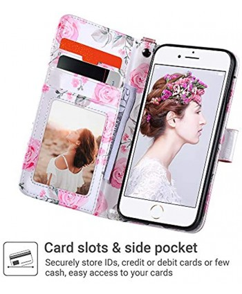 ULAK iPhone 8 Wallet iPhone SE Wallet 2020 iPhone 7 Flip Wallet Case PU Leather Wallet Kickstand Card Holder Shockproof Protective Cover for iPhone 7 8 Phone SE 2nd Generation 4.7 inch Rose Gold