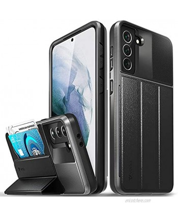 """Vena vCommute Wallet Case Compatible with Samsung Galaxy S21 Plus S21+ 6.7""""-inch Military Grade Drop Protection Flip Leather Cover Card Slot Holder with Kickstand Space Gray"""