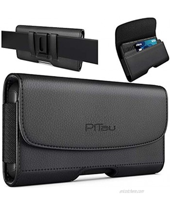 PiTau Holster Designed for iPhone 13 Pro Max 12 Pro Max 11 Pro Max Xs Max Cell Phone Belt Case with Belt Clip Loops Phone Pouch Card Holder Fits with Large iPhone Models with Otterbox Case on