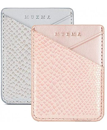 Cell Phone Card Holder Stick on Wallet for Back of Phone 3M Adhesive Ultra Slim Phone Pocket ID Credit Card Holder Sleeves Pouch Compatible iPhone Samsung Galaxy All Smartphones Grey Pink