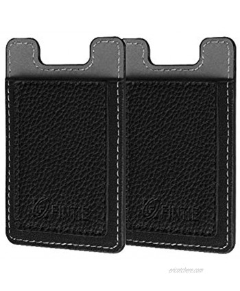 Cell Phone Credit Card Holder [2 Pack] Fintie Premium PU Leather Stick on ID Business Card Wallet Case Pouch for iPhone Samsung Galaxy LG and Most Smartphones Black