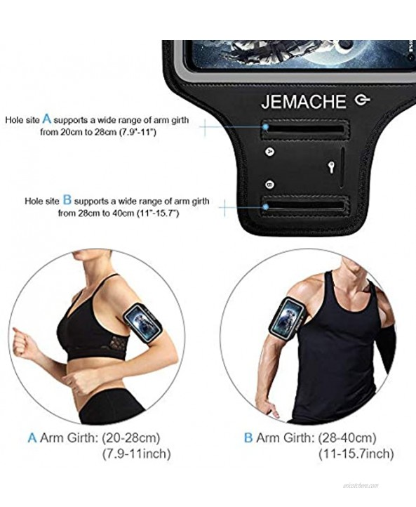 Galaxy S10e A10e Armband JEMACHE Water Resistant Gym Running Workouts Arm Band Case for Samsung Galaxy S10e A10e Black