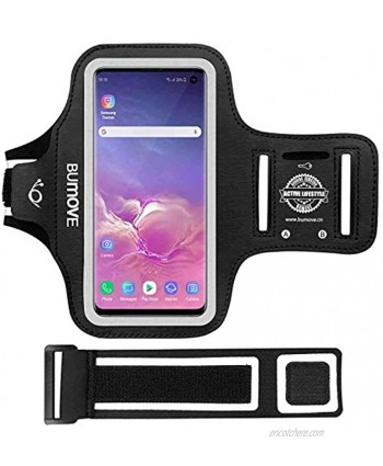 Galaxy S10e Armband BUMOVE Gym Running Workouts Sports Cell Phone Arm Band for Samsung Galaxy S10e with Key Card Holder Black